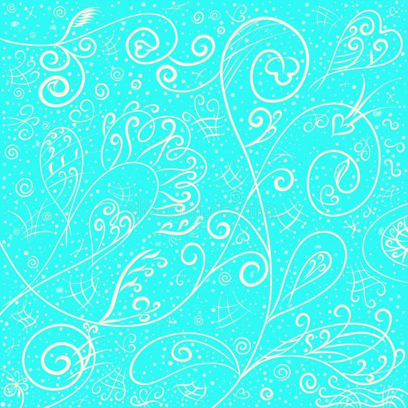 Elegant romantisk utsökt modell på en blå bakgrund som är frostig stock illustrationer