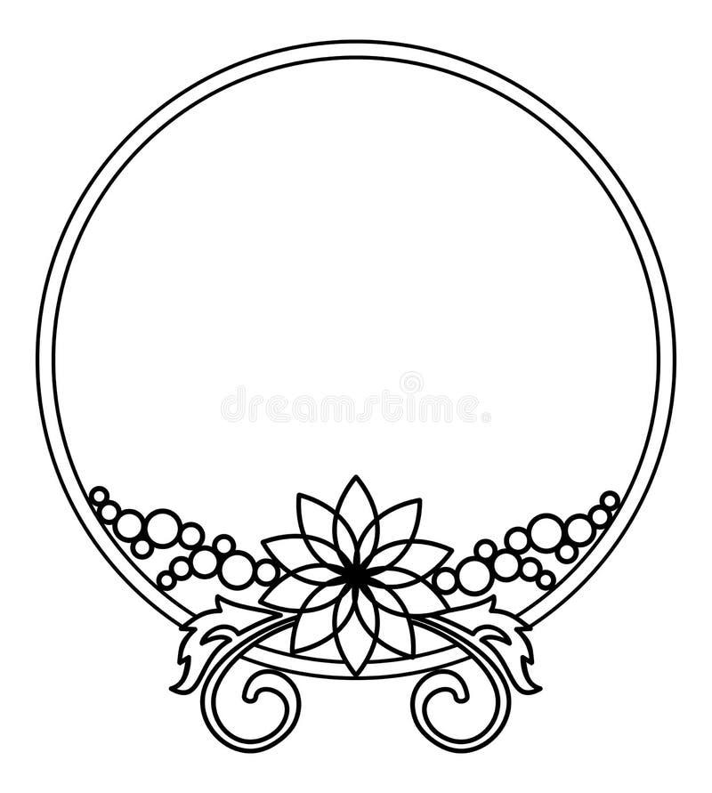 Elegant rond kader met contouren van bloemen Het art. van de roosterklem vector illustratie