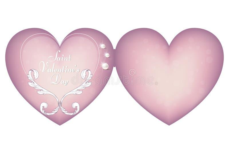 Elegant rosa kort i formen av hjärta för dagen Februari 14 för valentin` s Prydnaden göras i viktoriansk stil vektor illustrationer
