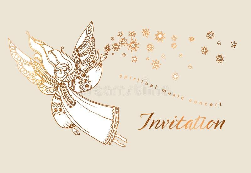 Elegant rose gold decorative girl angel. vector illustration
