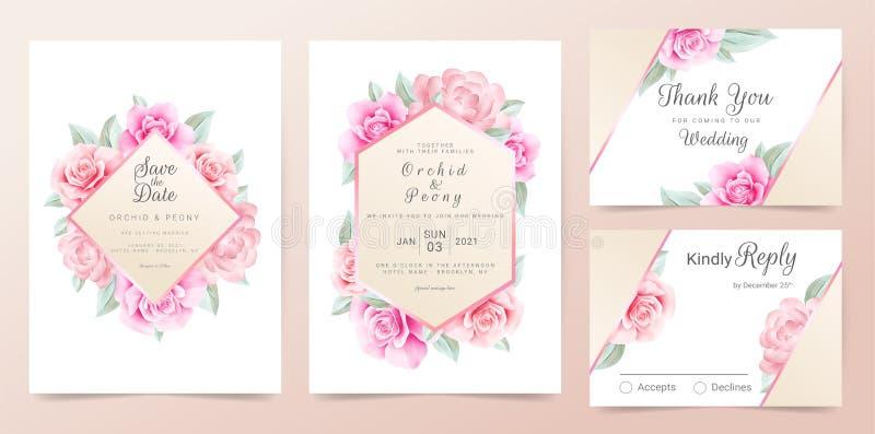 Elegant rose gold wedding invitation card template set with watercolor flowers frame and golden border vector illustration