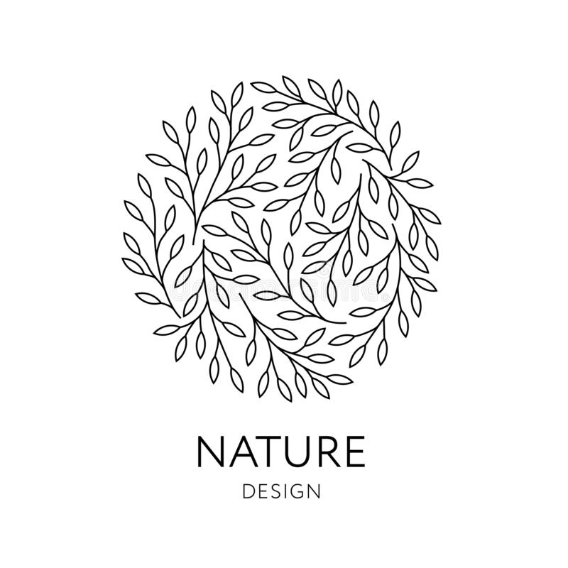 Elegant round emblem with tree branches. Vector organic and natural logo design vector illustration