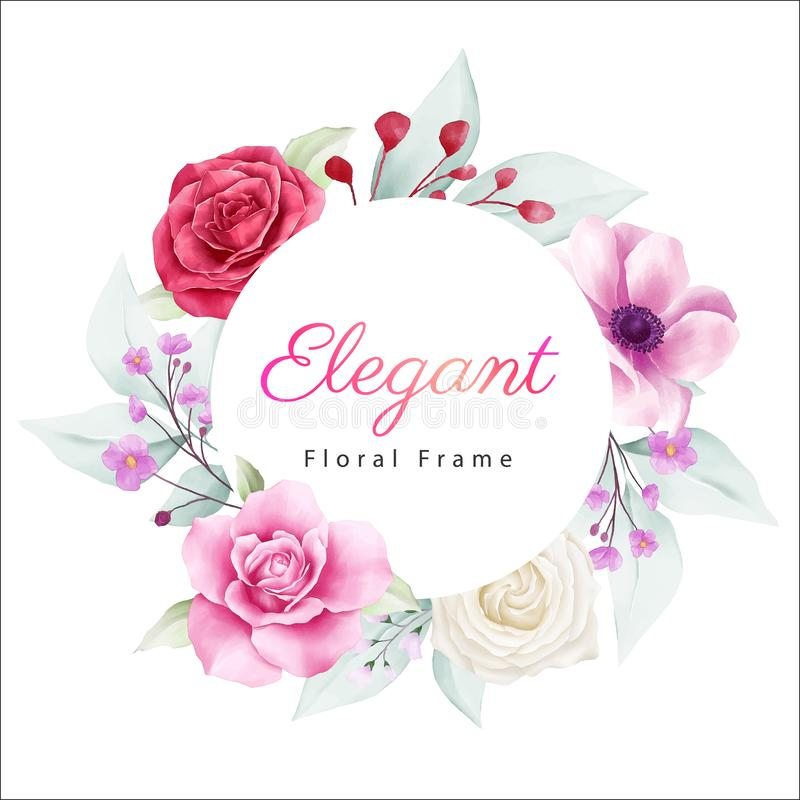 Elegant round floral frame with soft color flowers. Fully editable vector for wedding or greeting cards composition stock illustration