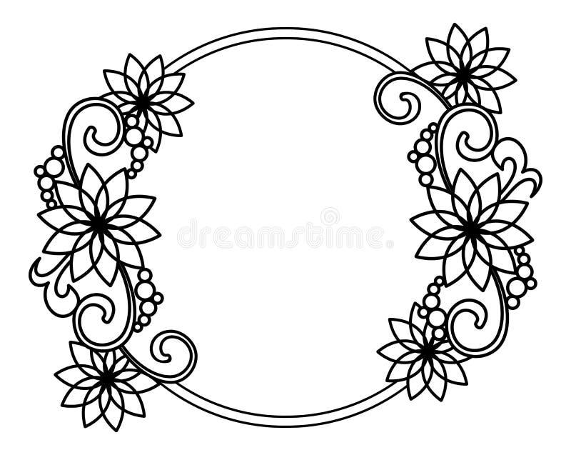 elegant round frame with contours of flowers raster clip art stock rh dreamstime com elegant clip art frames elegant clip art frames