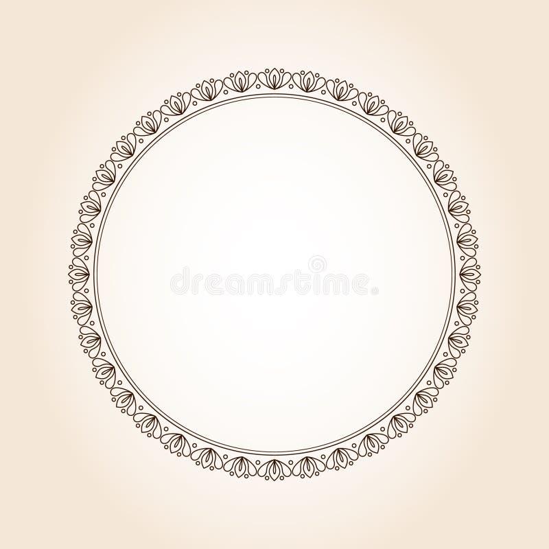 Elegant round retro frame. .Vector .Brown beige . vector illustration