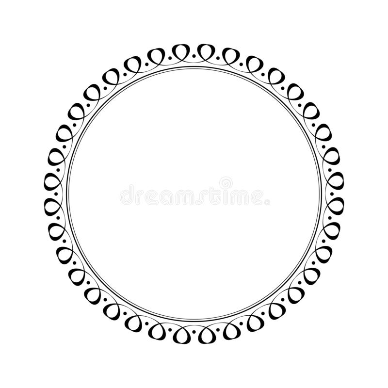 Elegant round retro frame. Vector illustration.Black white royalty free illustration