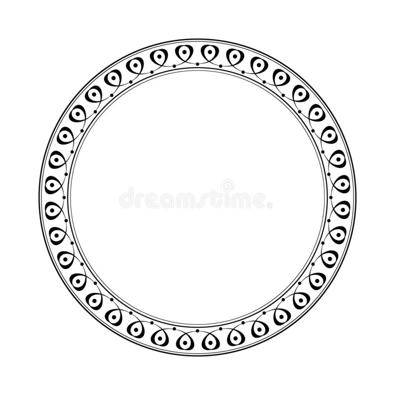 Elegant round retro frame. Vector illustration.Black white stock illustration