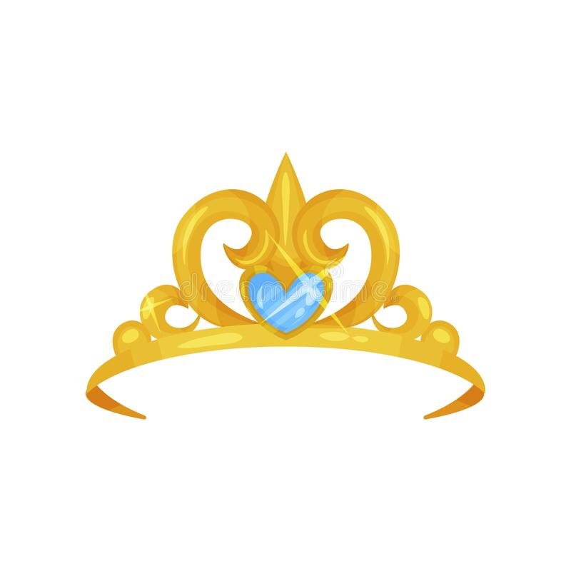Elegant royal crown decorated with big blue gemstone in shape of heart. Princess tiara with precious stone. Woman s head vector illustration