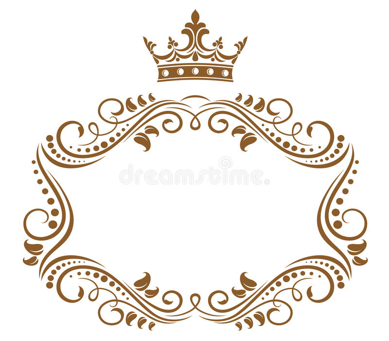 Elegant royal frame with crown. Isolated on white background