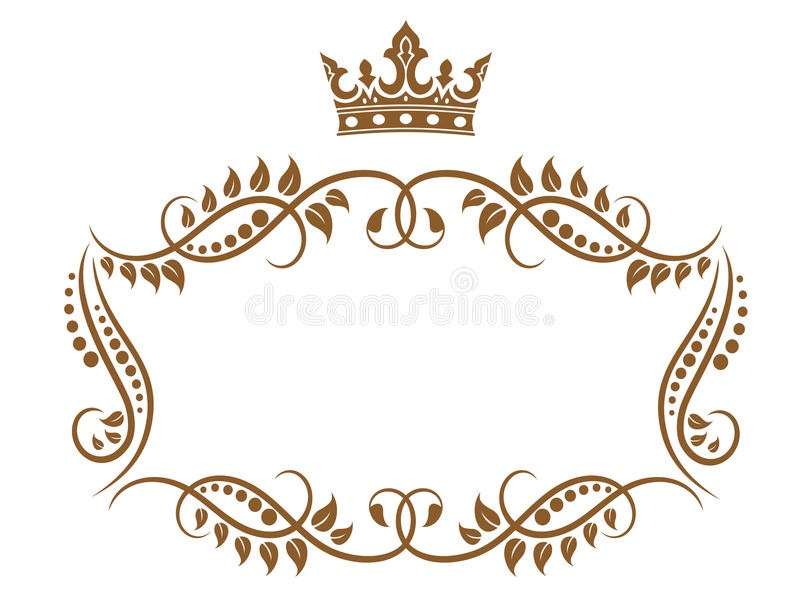 Elegant royal medieval frame royalty free illustration