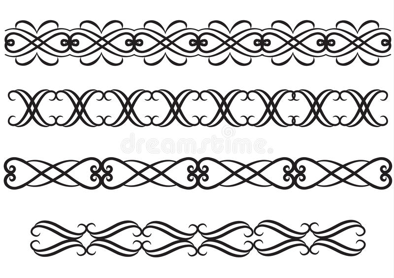 Elegant rule lines or borders stock illustration