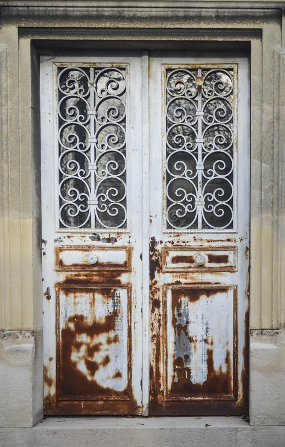Elegant rust metal door royalty free stock photos