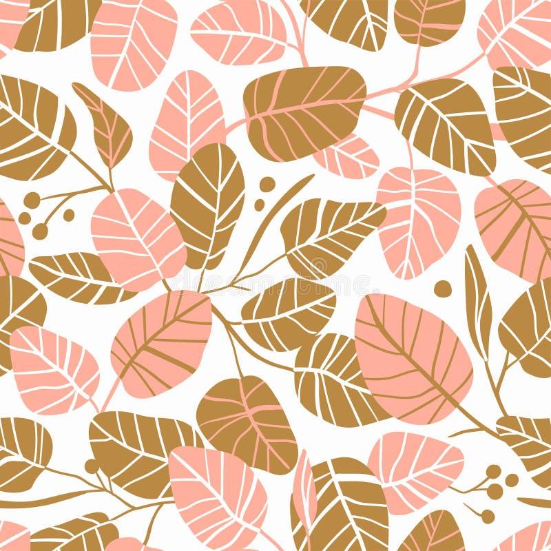 Elegant sömlös bakgrund för vektor med lövverk Att gifta sig modellen i rosa färger och guld färgar med sidor royaltyfri illustrationer