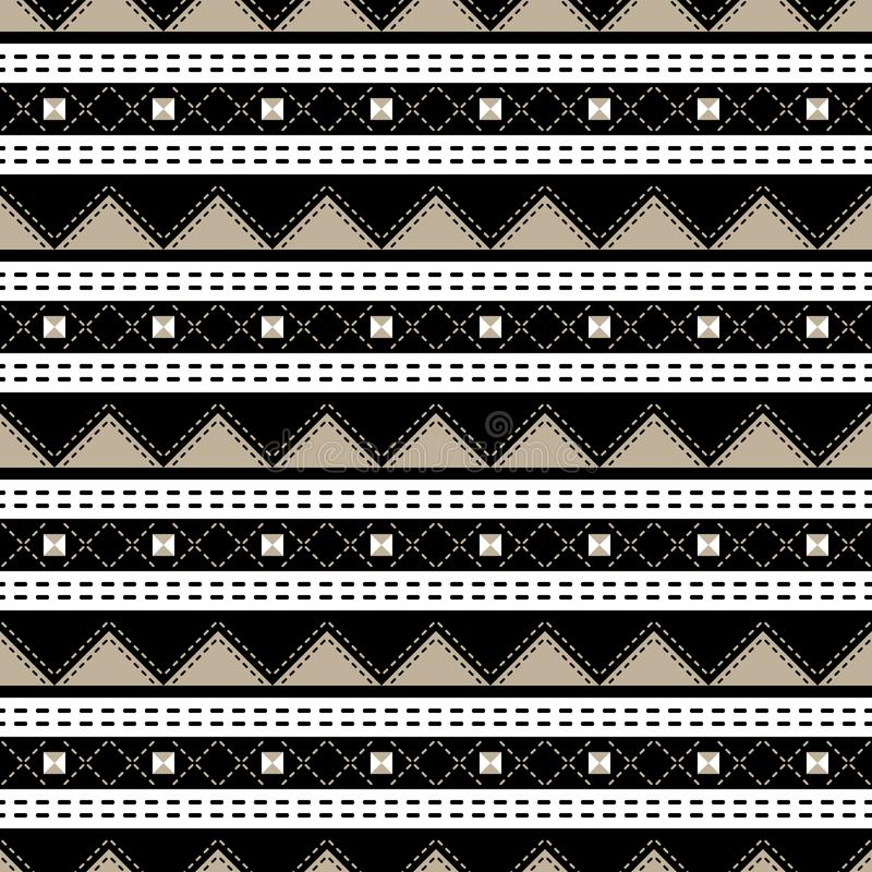 Elegant sömlös geometrisk modellsvart, vit, beiga färgar vektor illustrationer