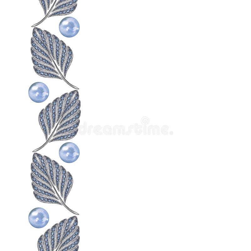 Elegant sömlös gräns av ädelstenar 3 stock illustrationer