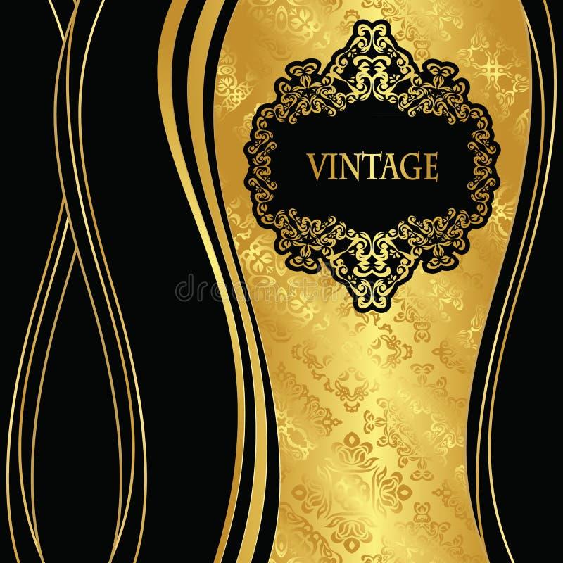 Elegant sömlös guld- tapet med tappningramen royaltyfri illustrationer