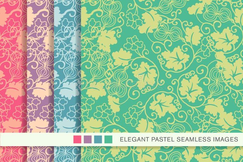 Elegant sömlös pastellfärgad vinranka för blad för spiral för bakgrundsuppsättningkalebass vektor illustrationer