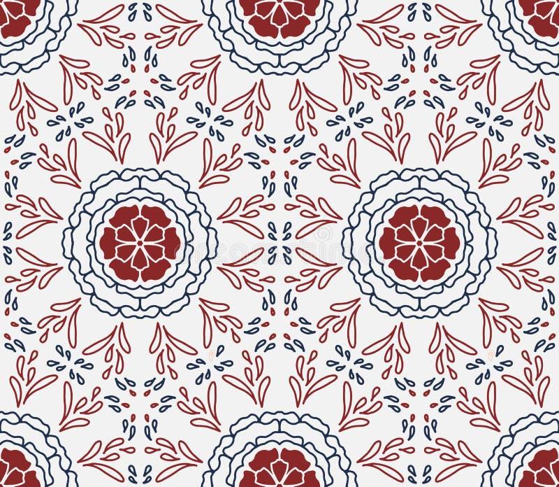 Elegant sömlöst upprepa för för vit som, blåa och röda blom- former är passande stock illustrationer