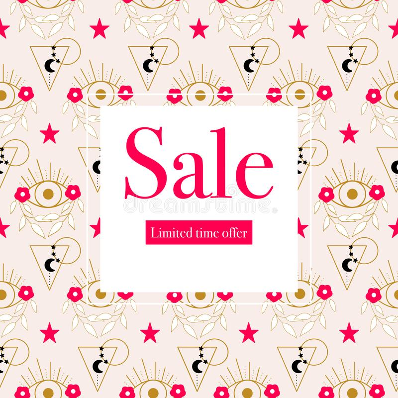 Elegant sale banner with eyes and pink flowers and stars.Vector elements. Geometric banner. Perfect  to use for your summer sale promotions vector illustration