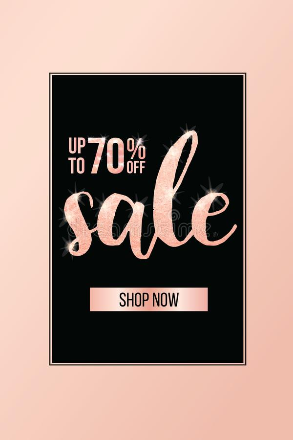 Elegant sale and discount promo banner template design. Vector illustration. royalty free stock photo