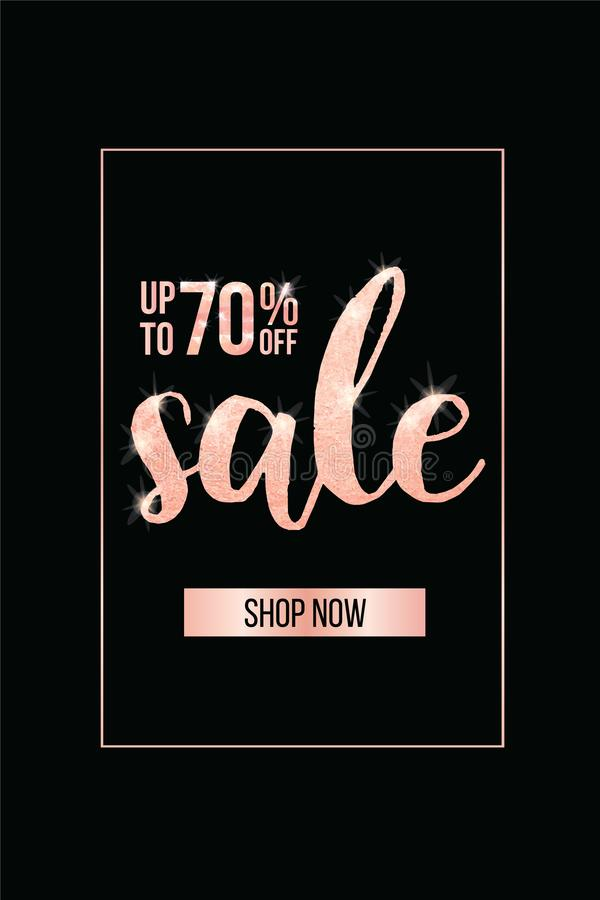Elegant sale and discount promo banner template design. Vector illustration. stock images