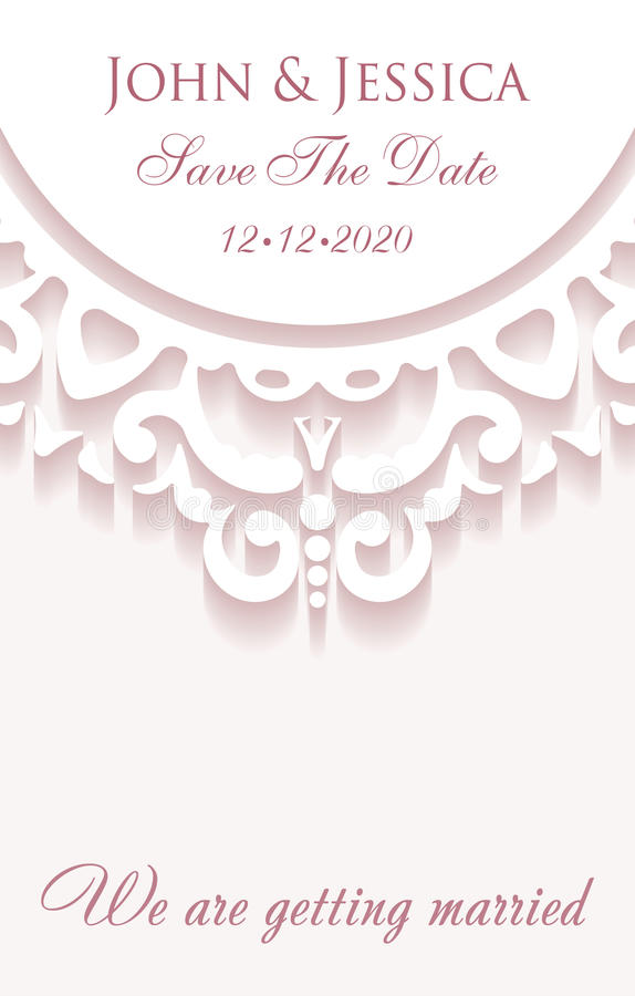 Elegant save the date paper style card with lace decoration, vin. Tage wedding invitation or announcement template in pink colors royalty free illustration