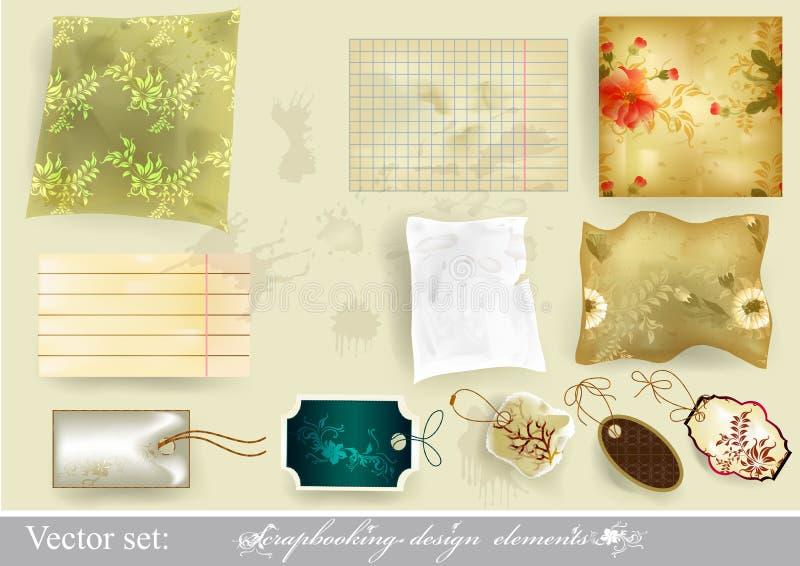 Elegant scrapbooking set old paper. Scrapbooking vector set. Elegant scrapbooking set old paper vector illustration