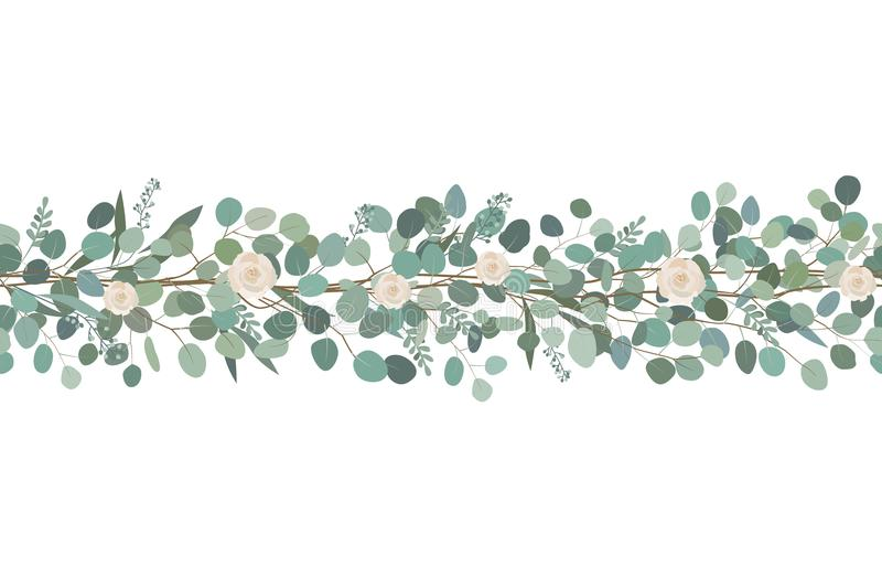 Elegant seamless border from roses and eucalyptus branches. Floral garland. Vector illustration. stock illustration