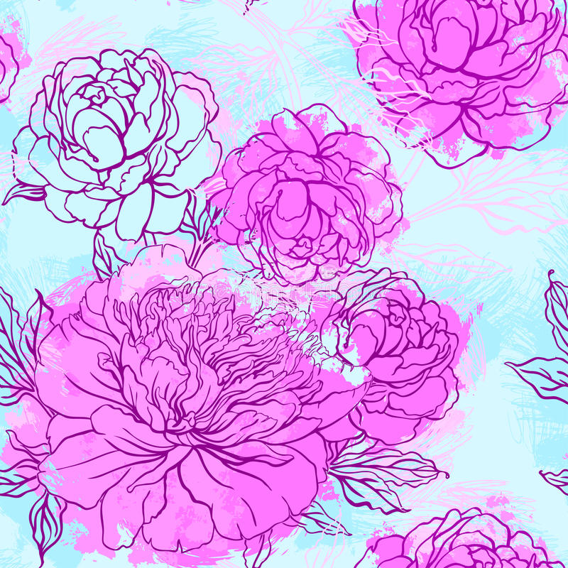 Elegant Seamless color peony pattern, vector illustration stock illustration