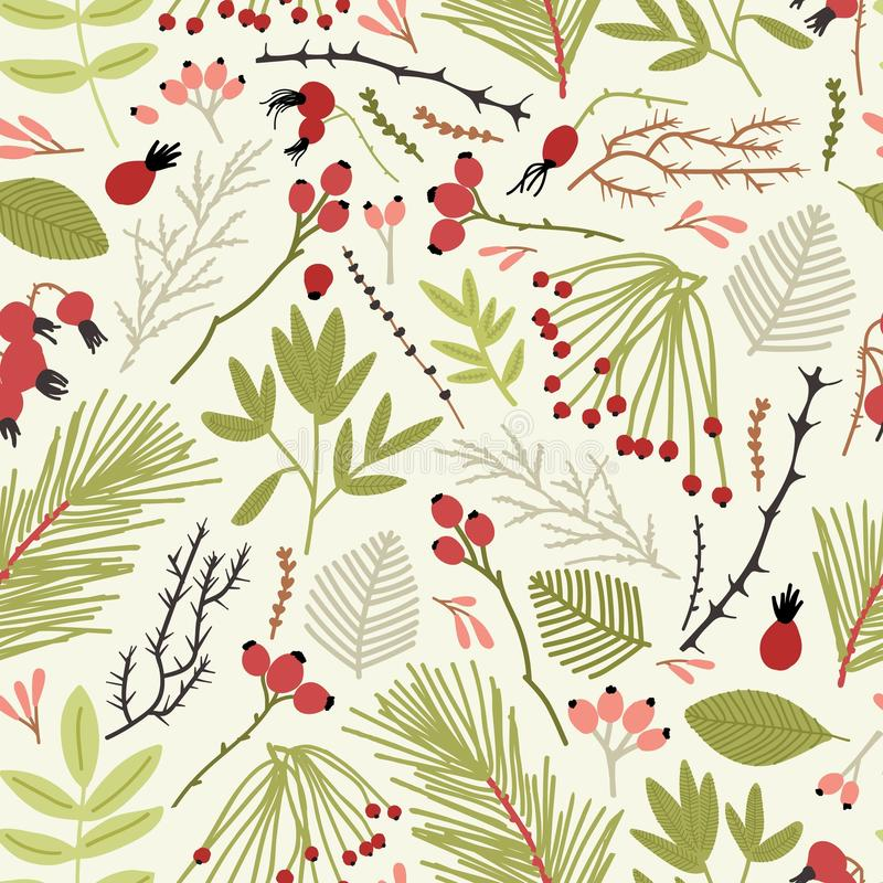 Elegant seamless pattern with branches of coniferous tree, berries, fir needles and leaves on white background. Backdrop stock illustration