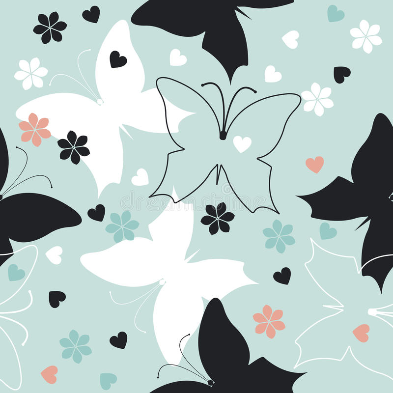 Elegant seamless pattern with cute butterflies, flowers and hear. Ts can be used for wrapping, packaging, tile, linen and wallpaper and textile design vector illustration