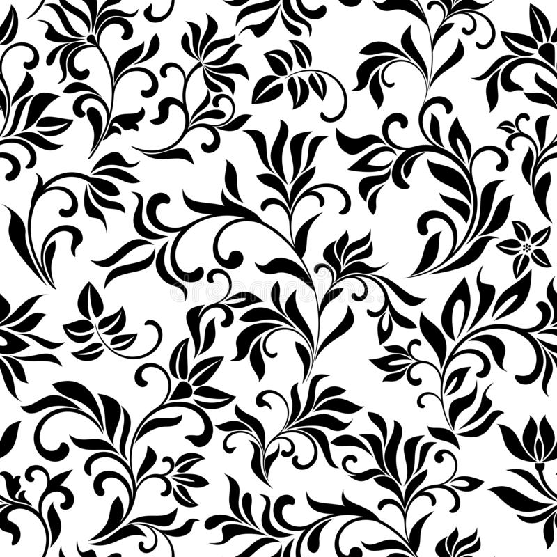 Elegant seamless pattern with decoration flowers on a white background. Vintage style. Texture for print, wallpaper, home decor, textile, package design royalty free illustration