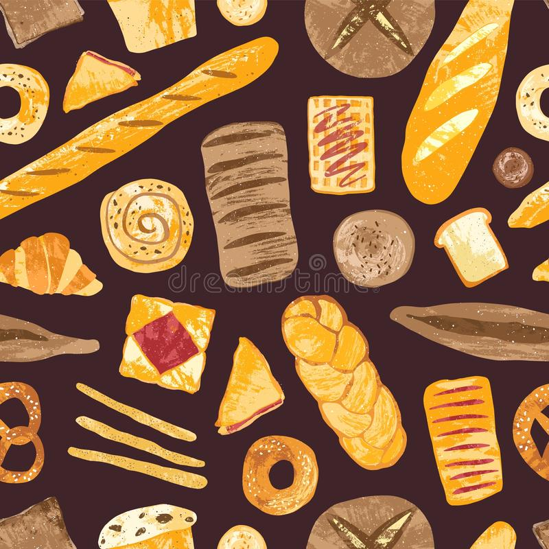 Elegant seamless pattern with delicious breads, baked desserts or sweet pastry, dough products on black background. Colored hand drawn vector illustration for vector illustration