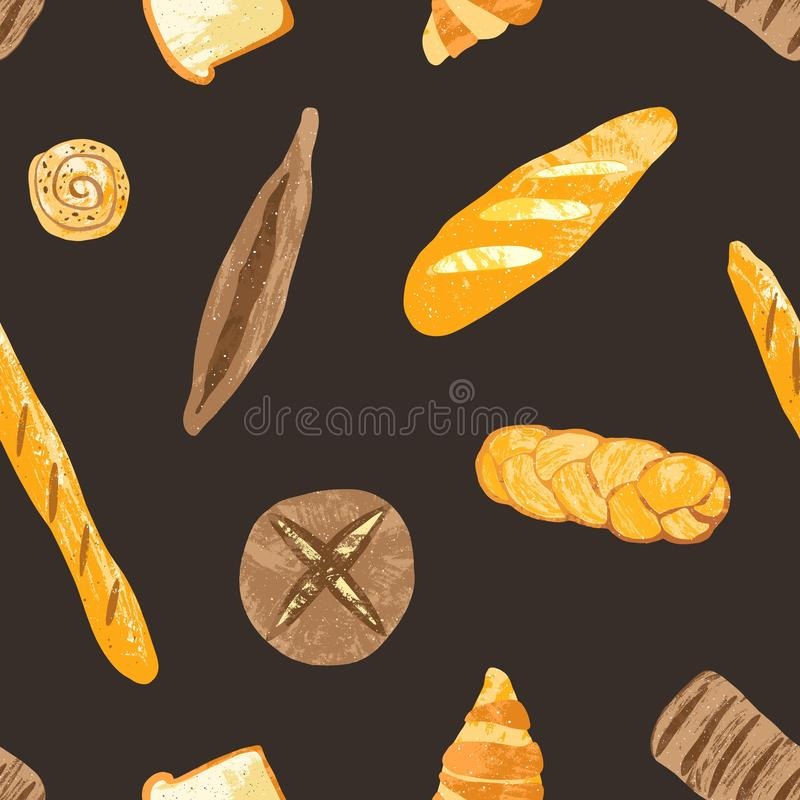 Elegant seamless pattern with delicious whole grain rye and wheat breads, fresh baked products and sweet pastry on black. Background. Vector illustration for royalty free illustration