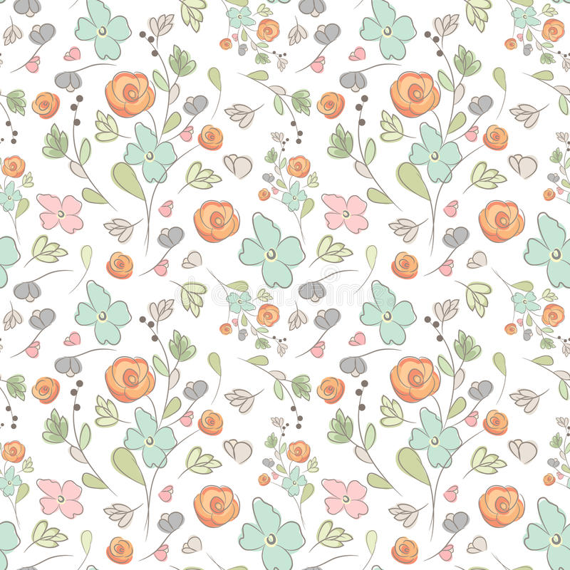 Elegant seamless pattern with flowers, vector illustration.  royalty free illustration