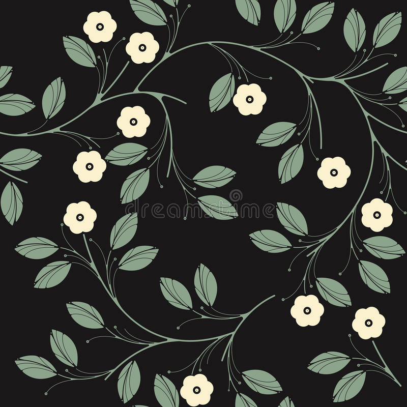 Elegant seamless pattern with ivory flowers and green leaves on. Black background can be used for wallpaper, tile, linen, pattern fills, surface textures and stock illustration