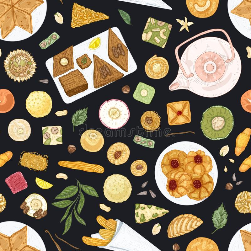 Elegant seamless pattern with oriental desserts on plates on black background. Backdrop with traditional sweet meals. Tasty confections, delicious pastry. Hand stock illustration