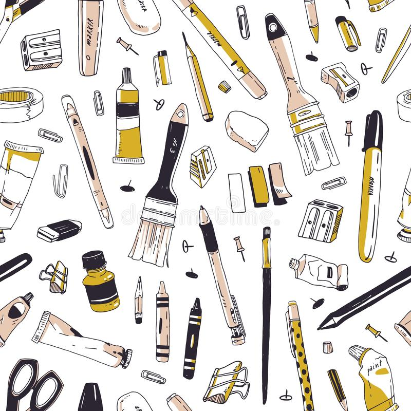 Elegant seamless pattern with stationery, writing utensils, office tools or art supplies hand drawn on white background royalty free illustration