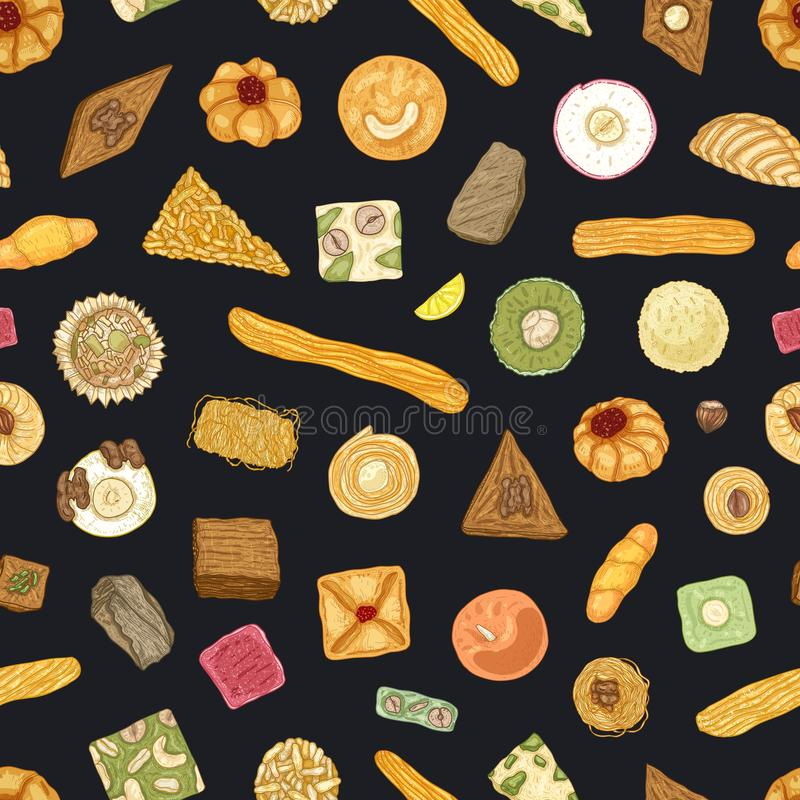 Elegant seamless pattern with traditional oriental confections or sweet pastry on black background. Stylish backdrop. With desserts. Realistic vector stock illustration
