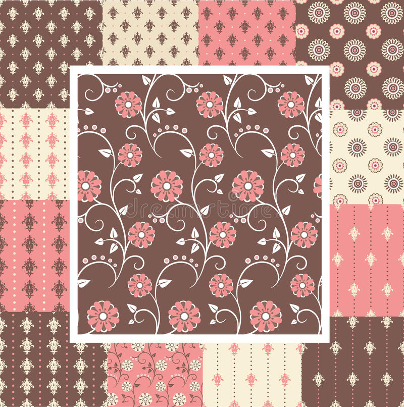Elegant seamless patterns in pink and brown colors royalty free illustration