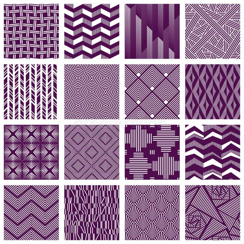 Set of intricate lined patterns royalty free illustration