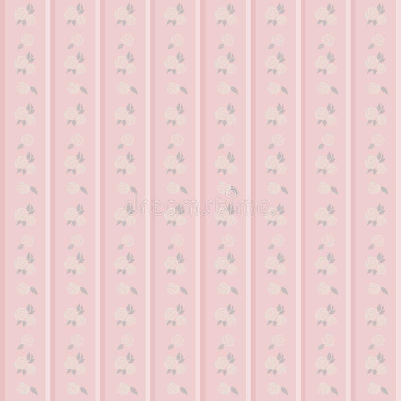 Elegant seamless Victorian wallpaper background pink botanic gar. Den rose flower can be used for both print and web page vector illustration