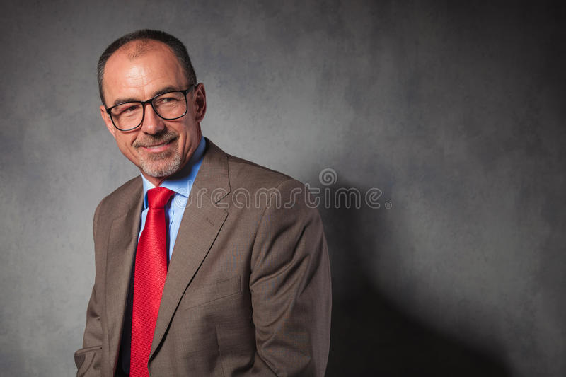 Elegant senior businessman wearing glasses royalty free stock photo