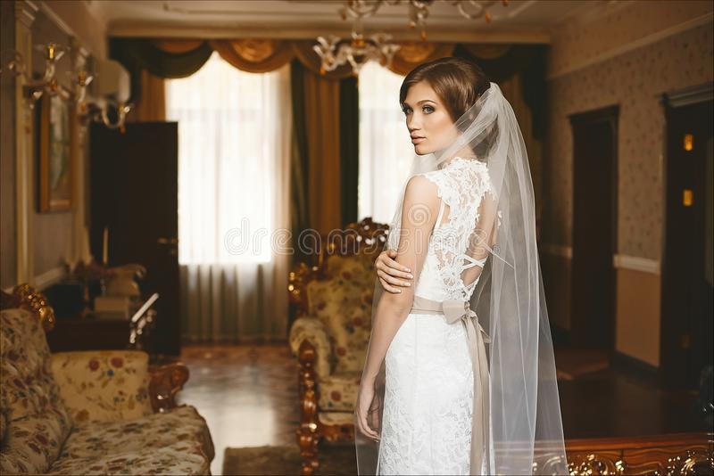 Elegant, sensual and beautiful brunette model girl with stylish wedding hairstyle and with bright makeup, in fashionable lace dres stock photography