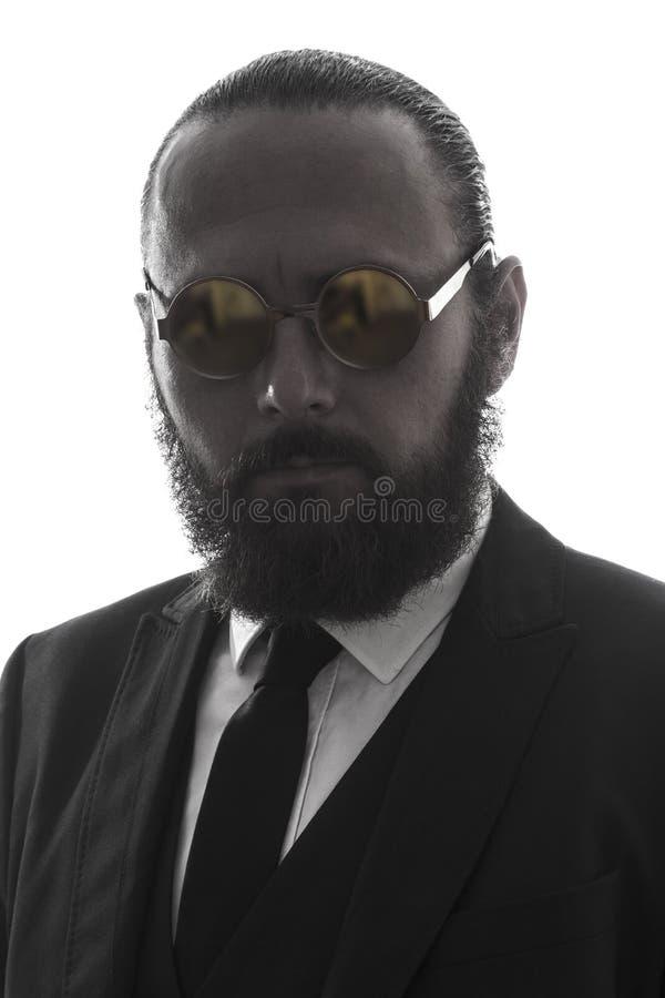 Elegant serious bearded man portrait stock photos