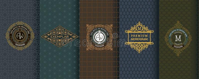 Elegant set of design elements, labels, icon, frames, seamless backgrounds stock illustration