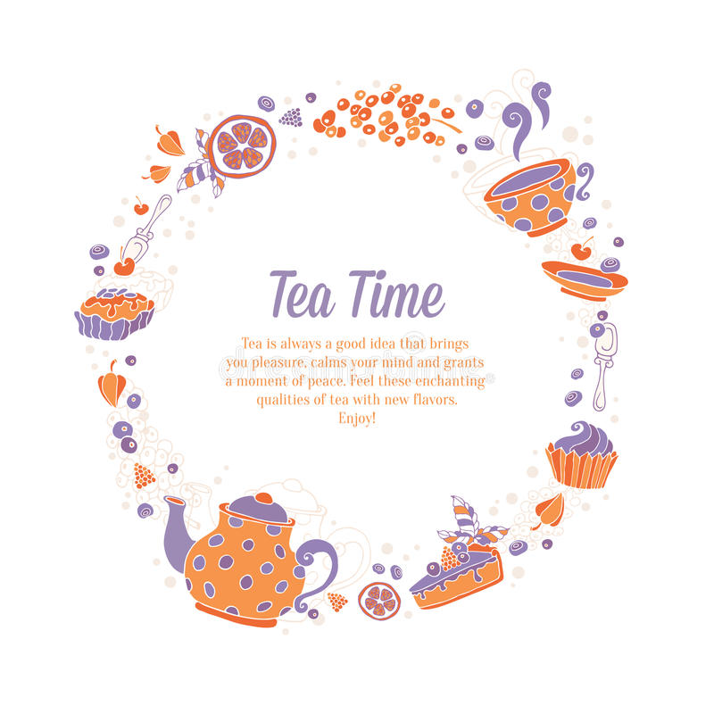 Elegant set of hand drawn tea and cakes circle wreath for busine. Ss cards, shop flyers or invitations with teapot, cup, cakes, sweets and berries with text on stock illustration