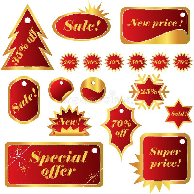 Elegant set of red winter sales tags stock illustration