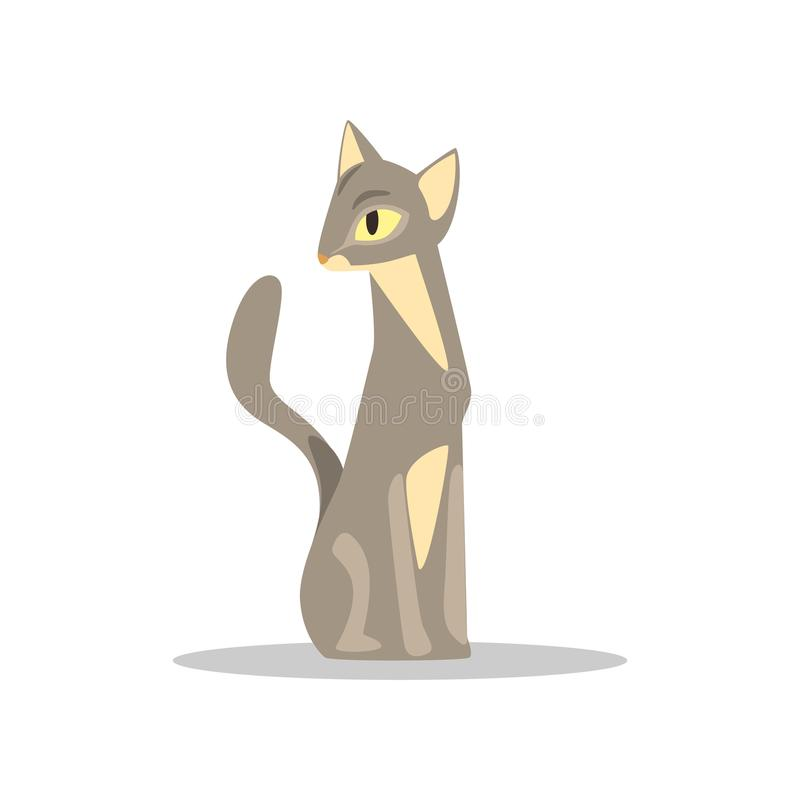 Elegant short-haired cat with gray-beige color and yellow eyes. Cartoon character of mammal domestic animal. Flat vector. Illustration isolated on white royalty free illustration