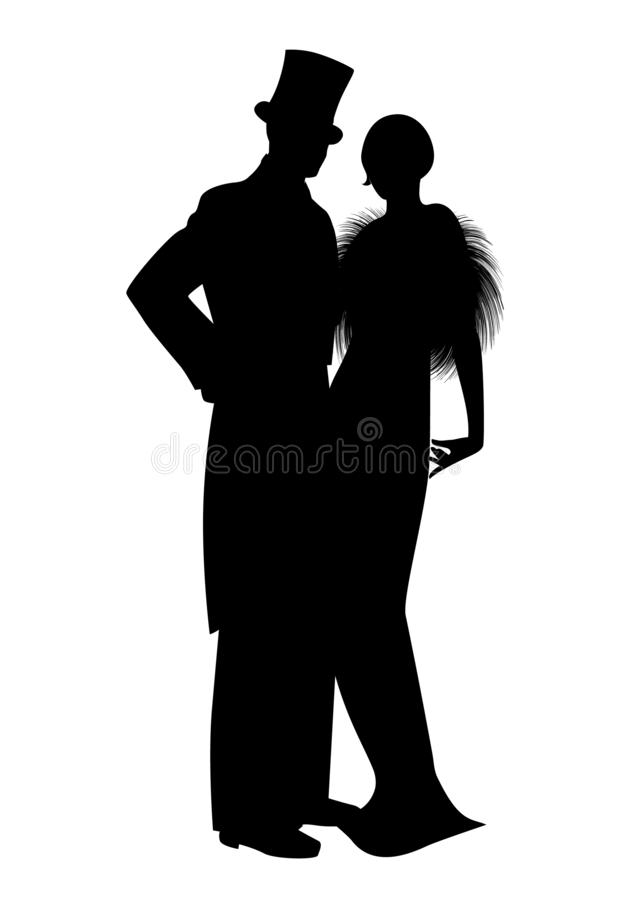 Free Elegant Silhouettes Of Couple Wearing Retro Style Party Clothes. Man In Top Hat And Lady With Long Dress And Fur Stole Stock Images - 158736334